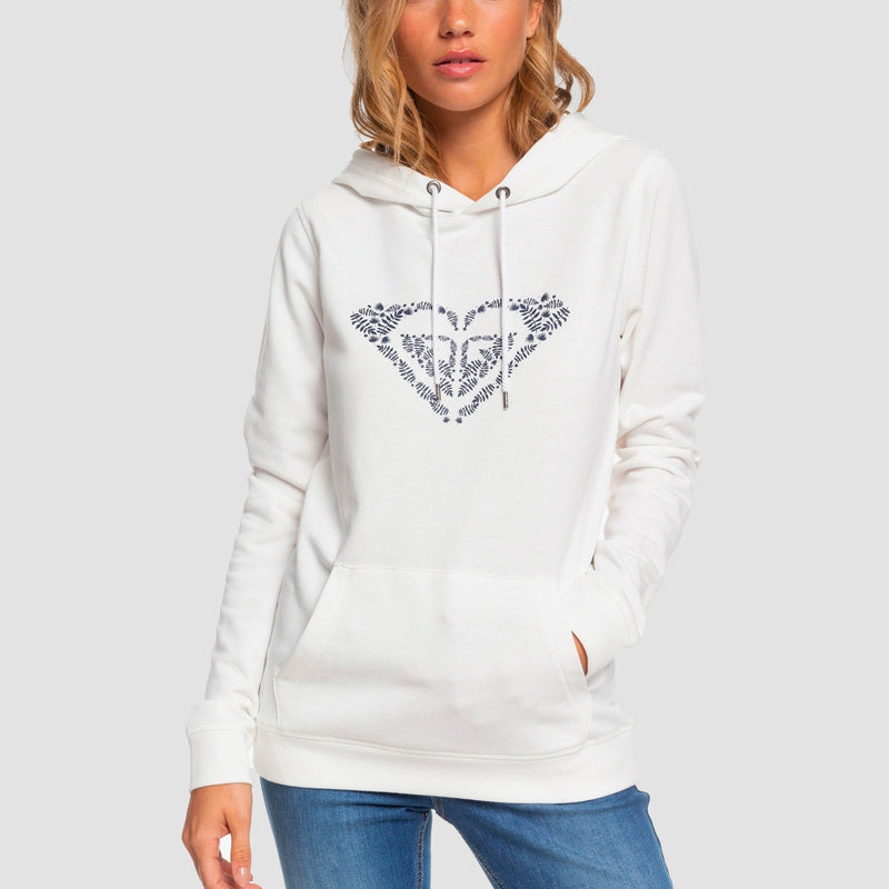 Roxy Shine Your Light Pullover Hood Snow White - Womens