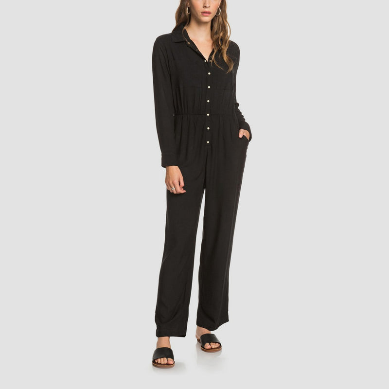 Roxy Sliding Doors Long Sleeve Jumpsuit Anthracite - Womens