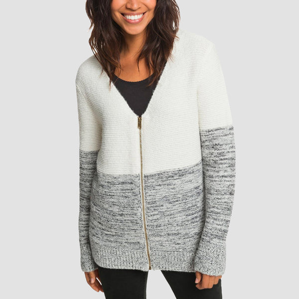 Roxy The Way Of Craft Zip-Up Cardigan Marshmallow - Womens