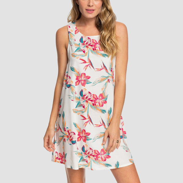 Roxy Tranquility Vibes Sleeveless Dress Snow White Tropic Call - Womens