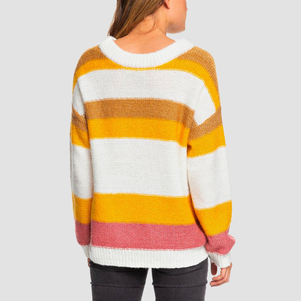 Roxy Trip For Two Stripe Jumper Snow White - Womens