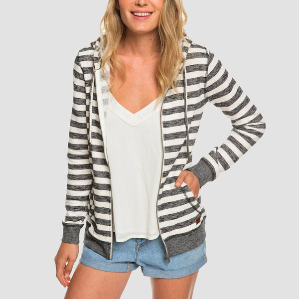 Roxy Trippin Stripes Zip Hood Black 2X2 Stripe - Womens