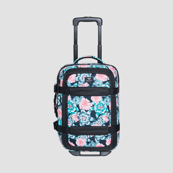 Roxy Wheelie Solid 30L Cabin Flight Suitcase Anthracite S Crystal Flower - Womens