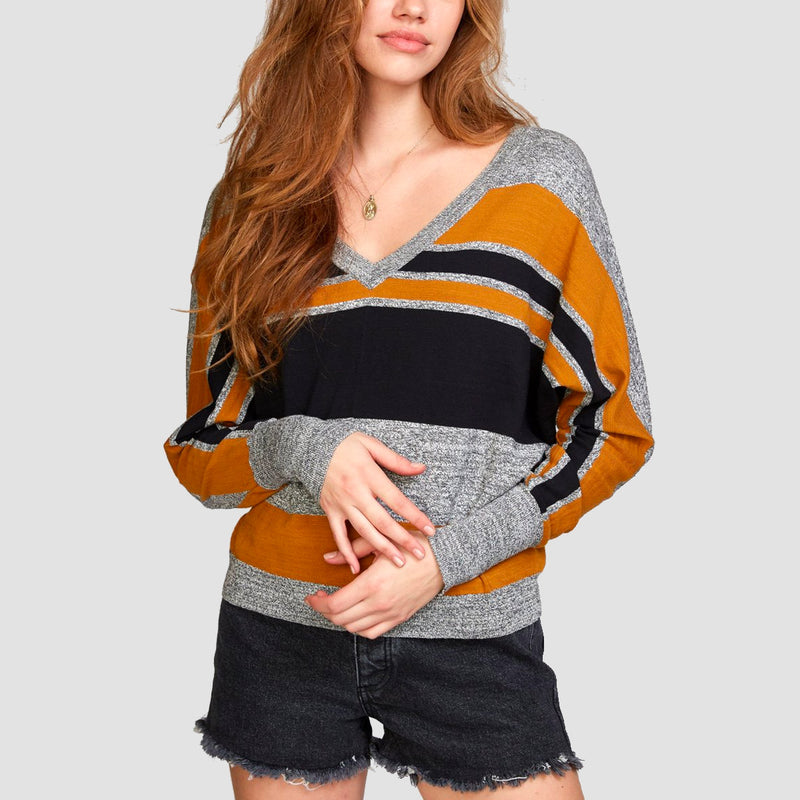 RVCA Carter Striped Sweater Cathay Spice - Womens