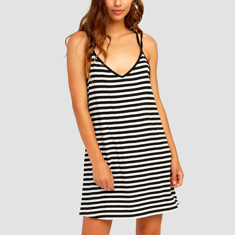 RVCA Vacay Dress Black/White - Womens