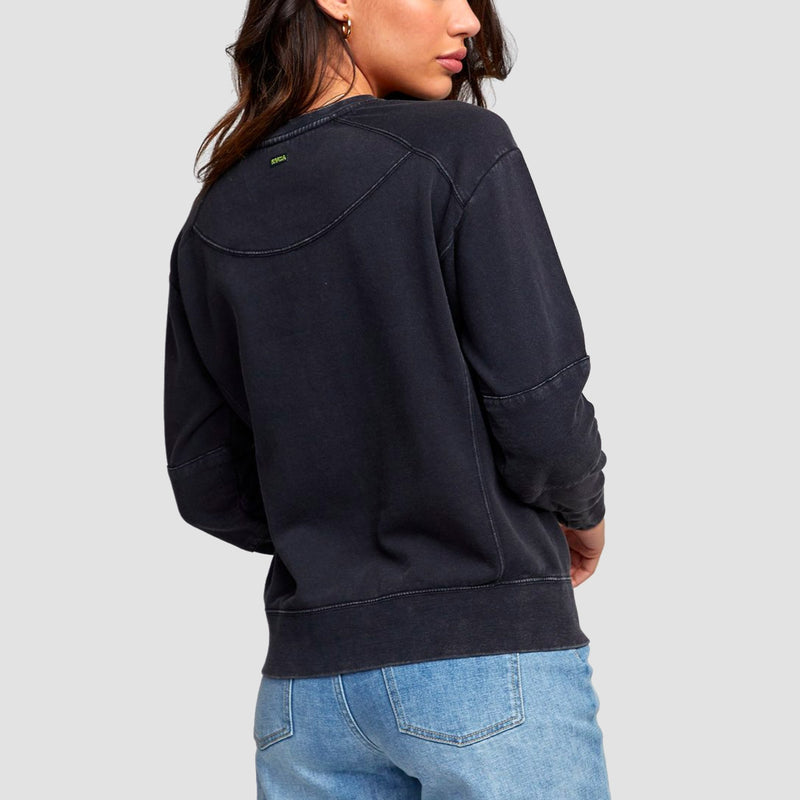RVCA Venom Mended Crew Sweat Washed Black - Womens
