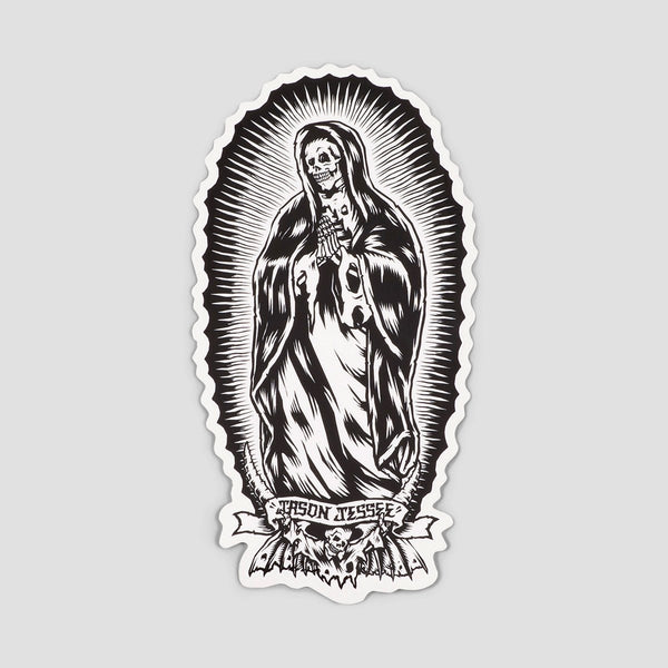 Santa Cruz Bone Guadalupe Sticker Black/White 6 - Skateboard