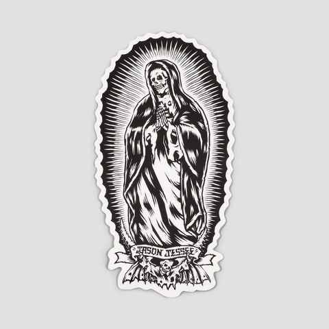 Santa Cruz Bone Guadalupe Sticker Black/White 6""