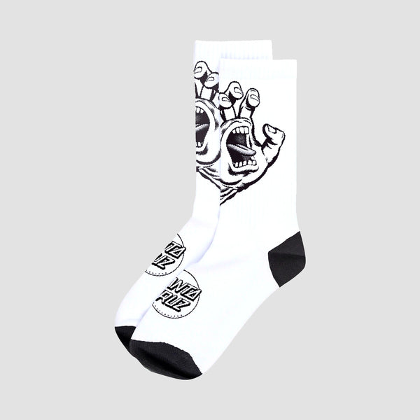 Santa Cruz Screaming Hand Mono Socks White