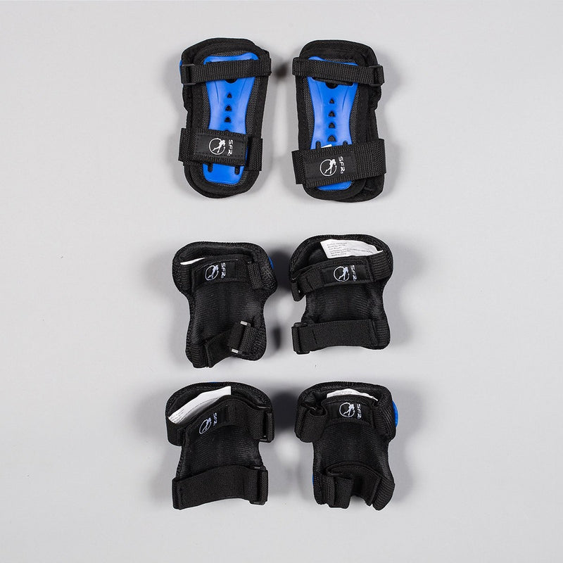 SFR Essential Triple Pad Set Blue/Black - Kids - Safety Gear