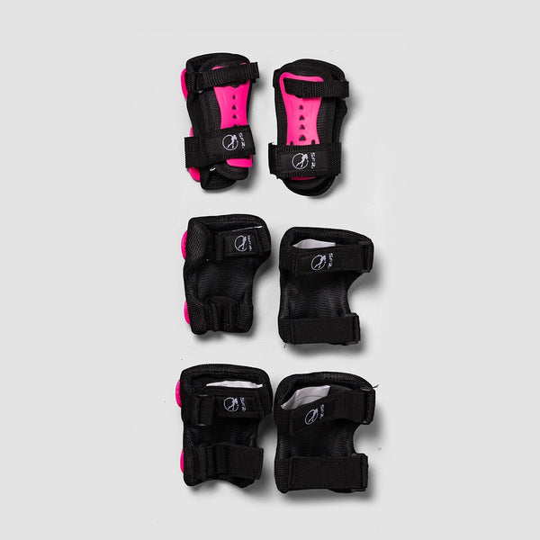 SFR Essential Triple Pad Set Pink/Black - Kids - Safety Gear