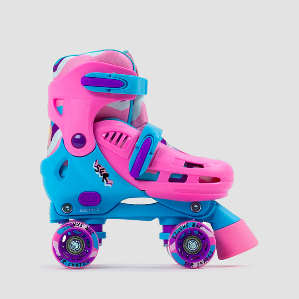 SFR Hurricane III Adjustable Quad Skates Pink/Blue - Kids