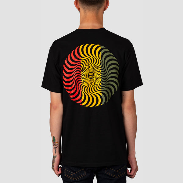 Spitfire Classic Swirl Tee Black/Red/Gold/Olive