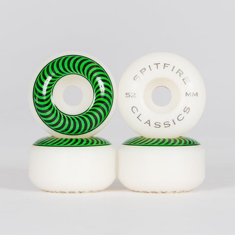 Spitfire Classic Wheels White/Green 52mm