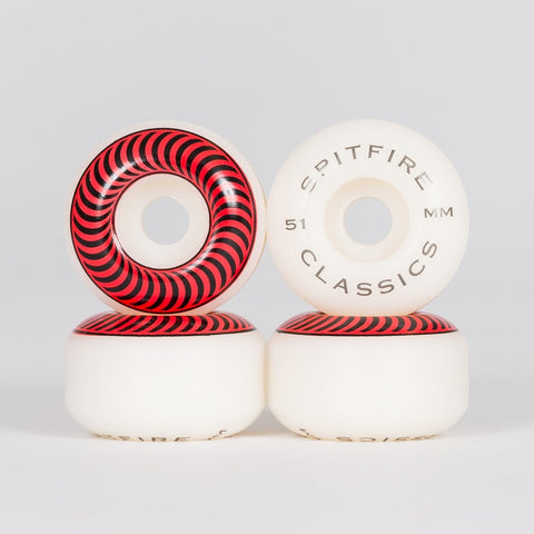 Spitfire Classic Wheels White/Red 51mm