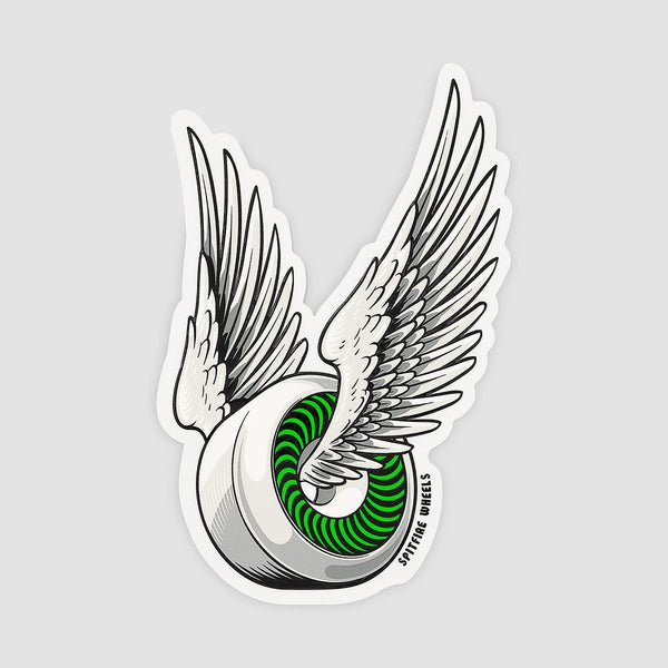 Spitfire OG Classic Sticker White/Green 150mm x 95mm - Skateboard