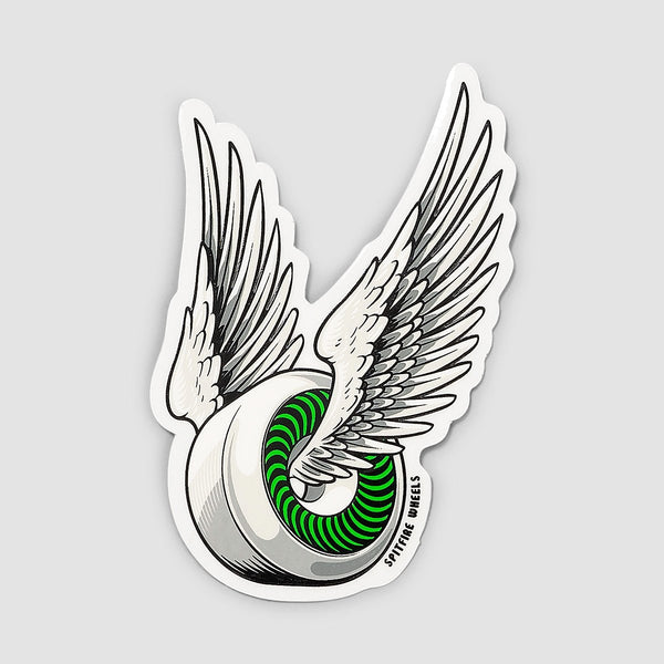 Spitfire OG Classic Sticker White/Green 95mm x 55mm - Skateboard