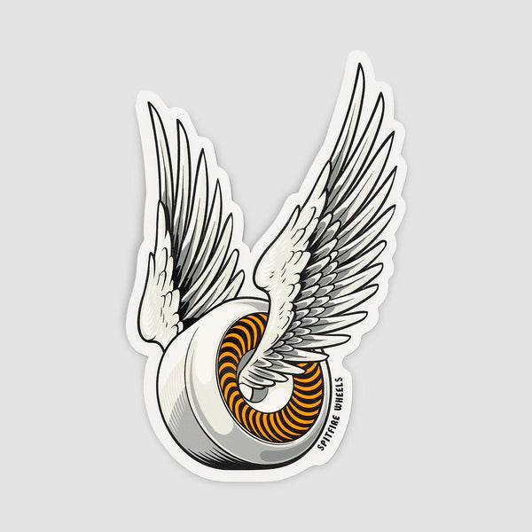Spitfire OG Classic Sticker White/Orange 150mm x 95mm - Skateboard