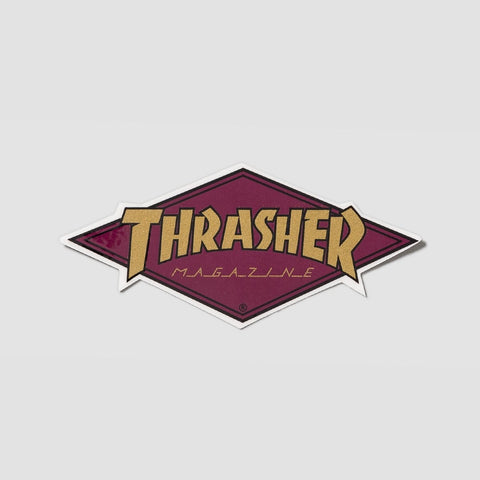 Thrasher Diamond Logo Sticker Purple/Gold 110x45mm
