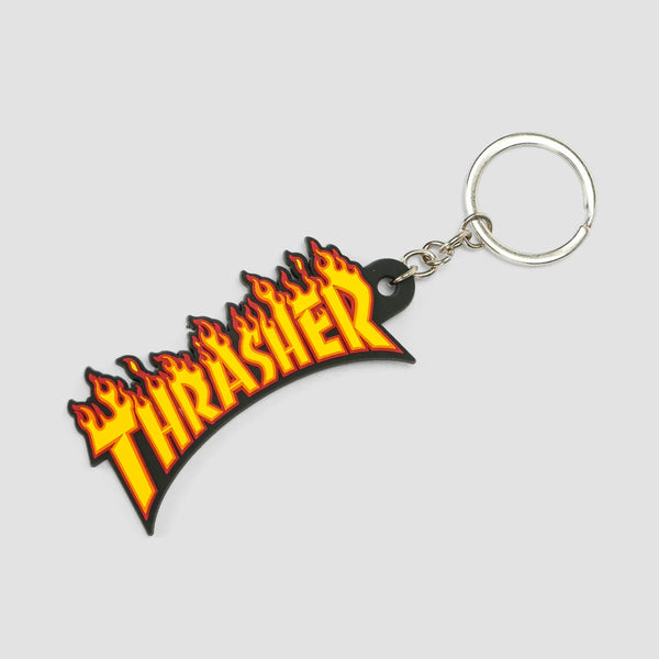 Thrasher Flame Logo Keychain Black/Yellow