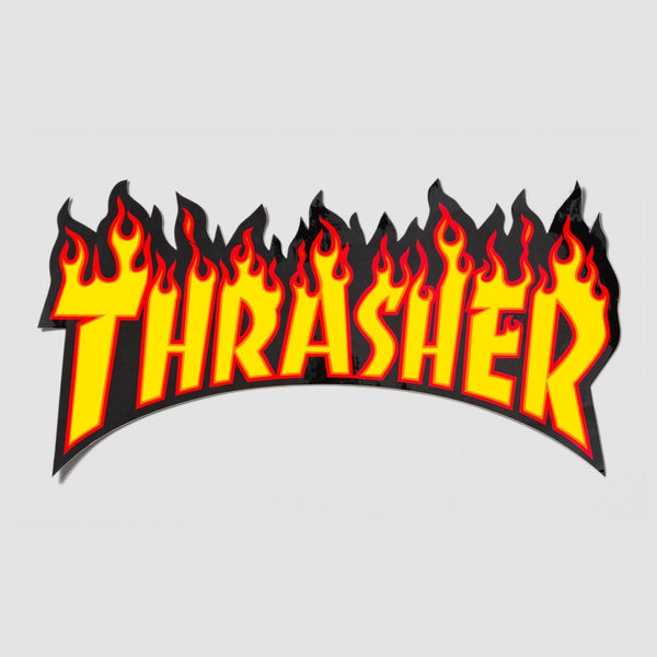 Thrasher Flame Logo Large Sticker Yellow/Black 260mm x 135mm - Skateboard