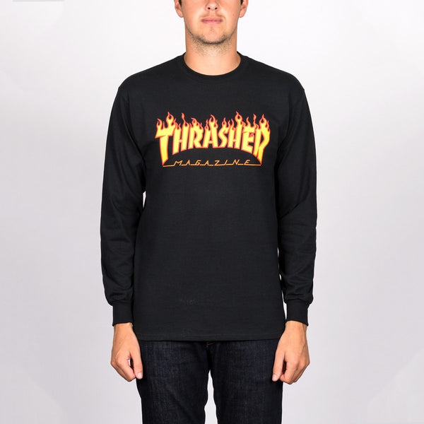 Thrasher Flame Logo Long Sleeve Tee Black - Clothing