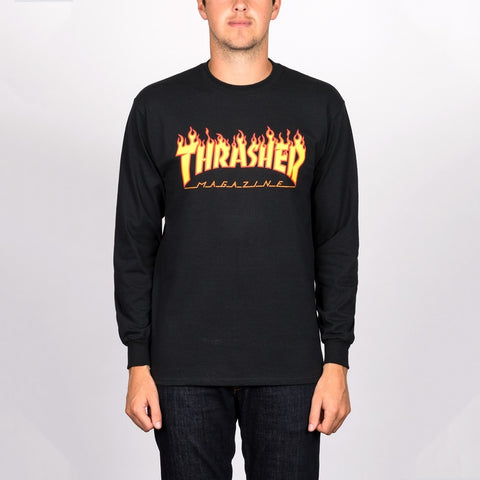 Thrasher Flame Logo Long Sleeve Tee Black
