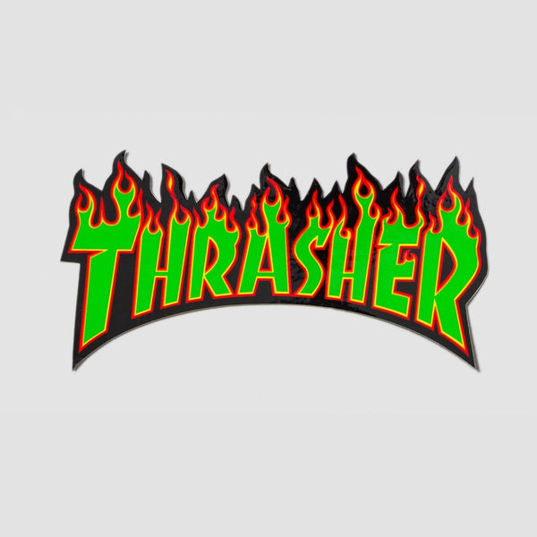 Thrasher Flame Logo Medium Sticker Green/Black 155mm x 80mm - Skateboard