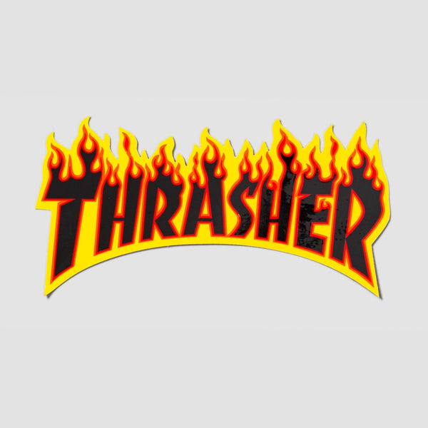 Thrasher Flame Logo Medium Sticker Yellow/Black 155mm x 80mm - Skateboard
