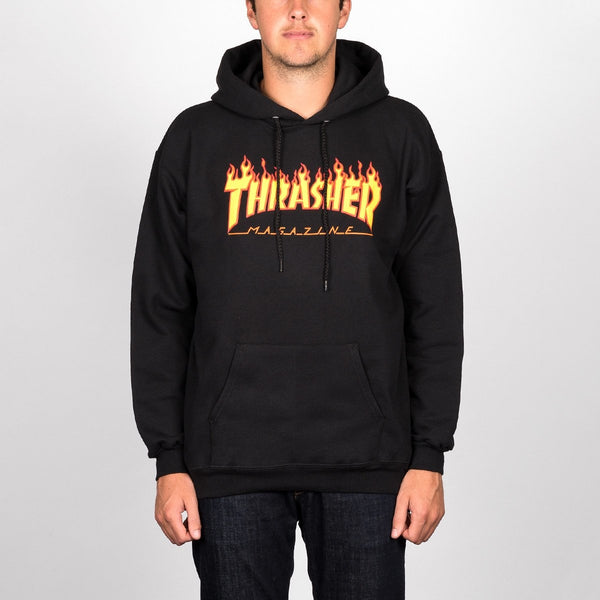 Thrasher Flame Logo Pullover Hood Black - Clothing
