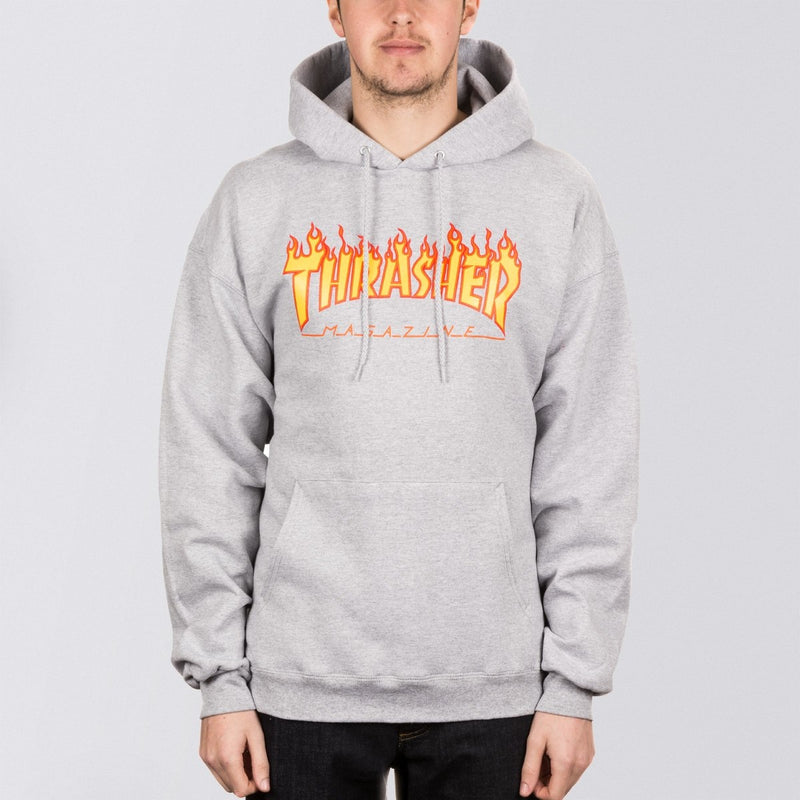 Thrasher Flame Logo Pullover Hood Heather Grey - Clothing