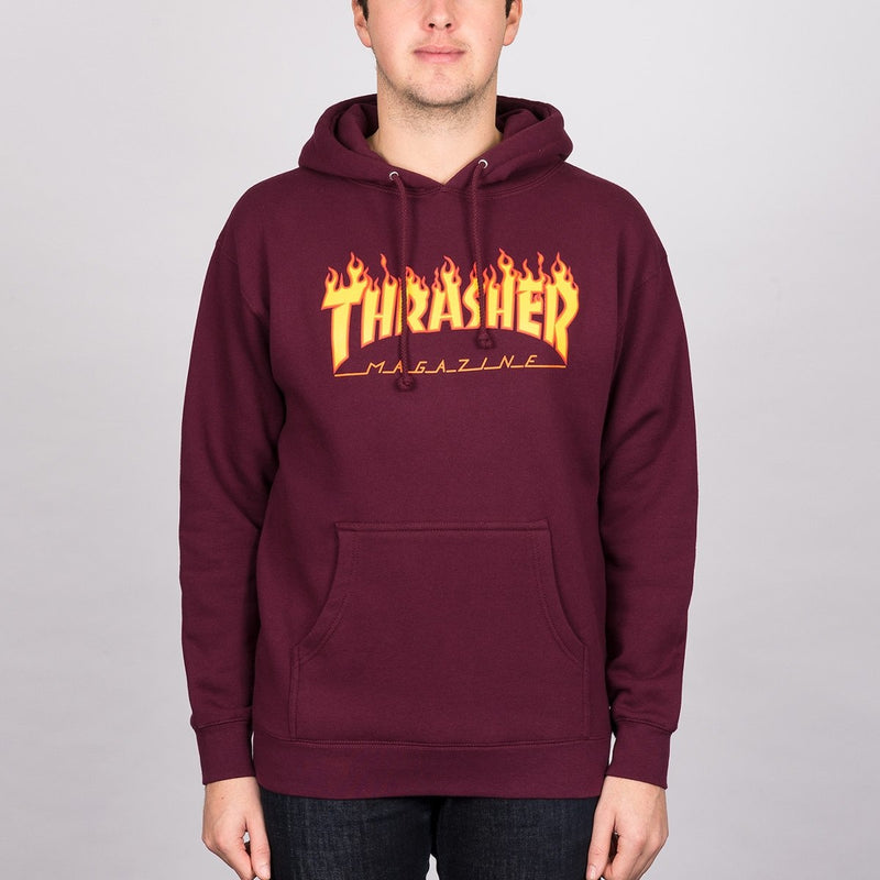 Thrasher Flame Logo Pullover Hood Maroon - Clothing