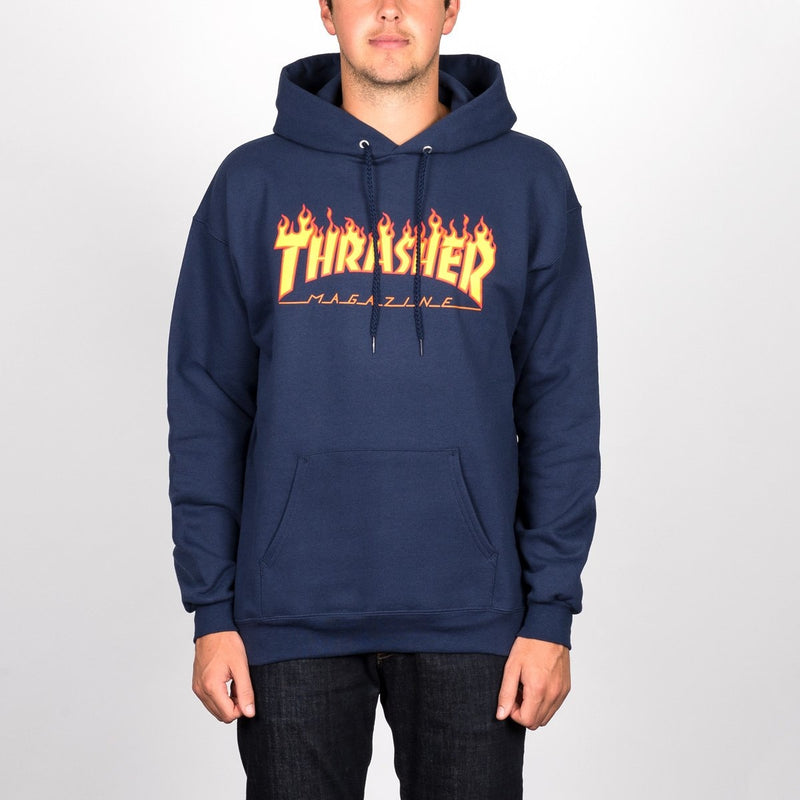 Thrasher Flame Logo Pullover Hood Navy Blue - Clothing
