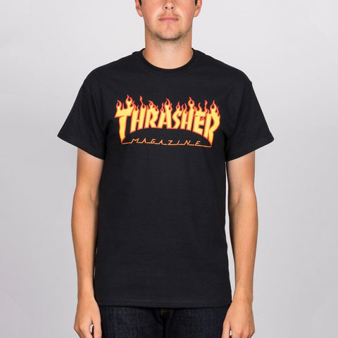 Thrasher Flame Logo Tee Black