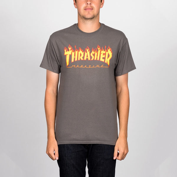 Thrasher Flame Logo Tee Charcoal - Clothing