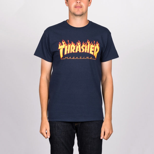 Thrasher Flame Logo Tee Navy Blue - Clothing