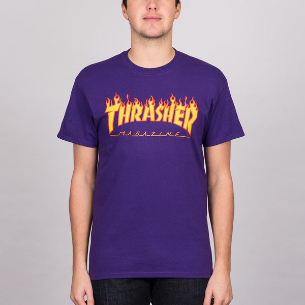 Thrasher Flame Logo Tee Purple - Clothing