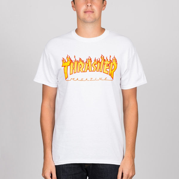 Thrasher Flame Logo Tee White - Clothing
