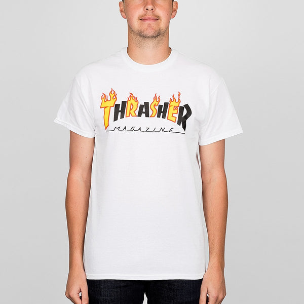 Thrasher Flame Mag Tee White - Clothing