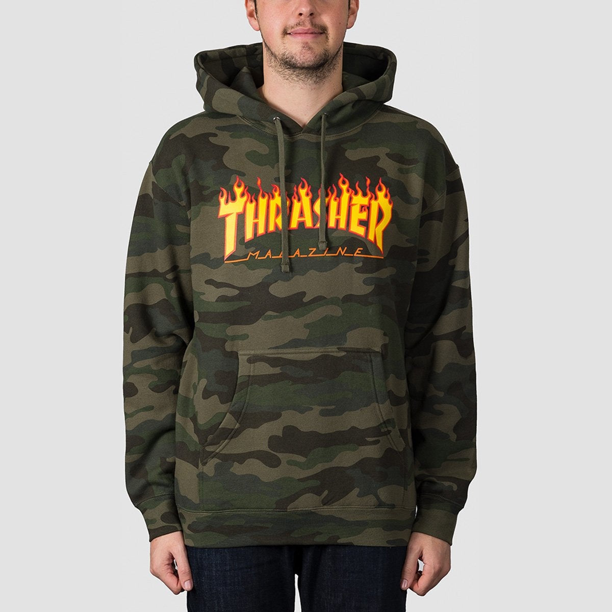 Thrasher Flame Pullover Hood Forest Camo - Clothing