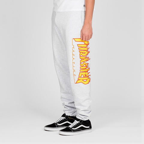 Thrasher Flame Sweatpants Grey - Clothing