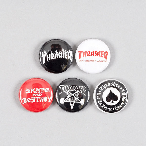 Thrasher Logo Button Badge Pack x5 - Accessories
