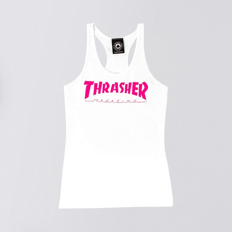 Thrasher Mag Logo Racerback Tank Vest White - Womens - Clothing
