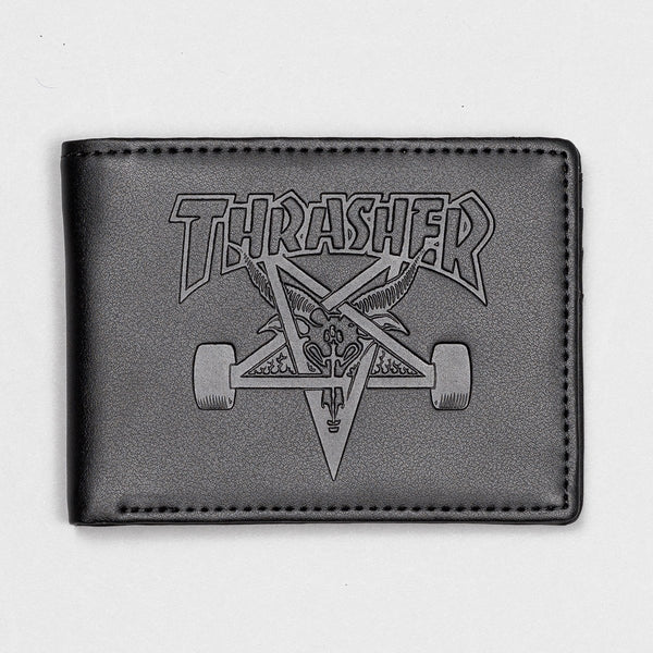 Thrasher SK8 Goat Embossed Leather Wallet Black - Accessories