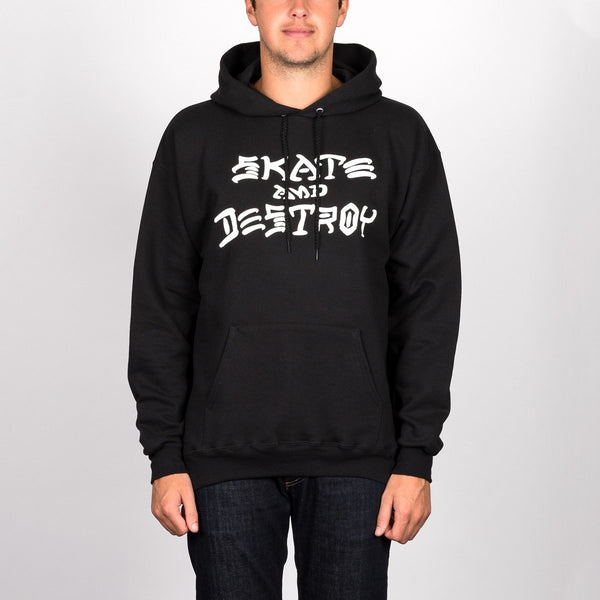 Thrasher Skate And Destroy Pullover Hood Black - Clothing