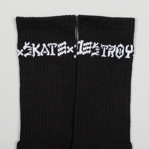 Thrasher Skate And Destroy Socks 2 Pack Black/White - Unisex - Accessories