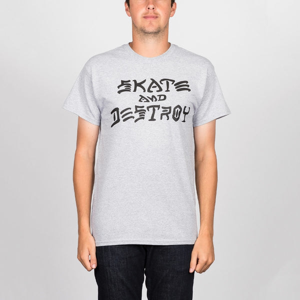 Thrasher Skate And Destroy Tee Heather Grey - Clothing