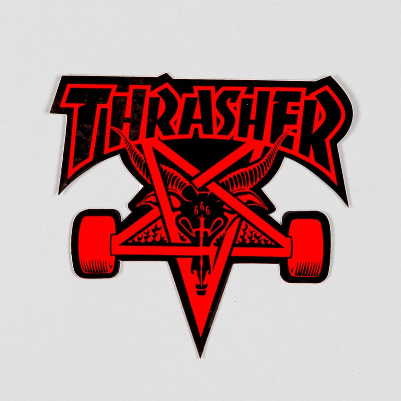 Thrasher Skate Goat Sticker Black/Red Medium - Skateboard