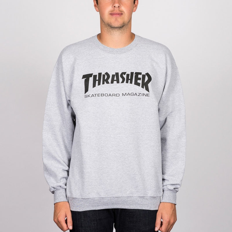 Thrasher Skate Mag Logo Crew Sweat Grey Heather - Clothing
