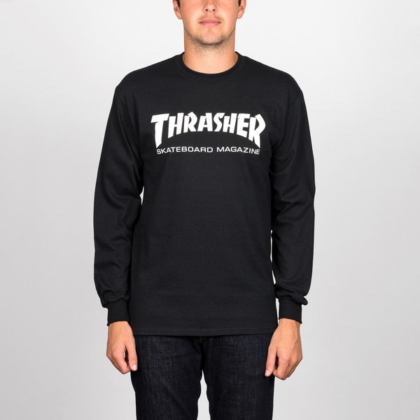 Thrasher Skate Mag Logo Long Sleeve Tee Black - Clothing